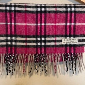 Burberry Magenta and Black Wool Scarf